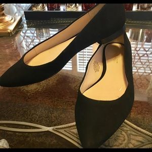 Black suede pointy toe flats